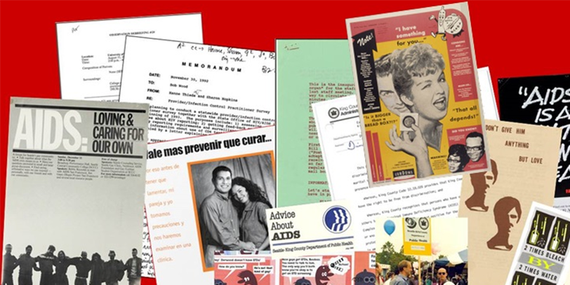 Collage of AIDS images and text