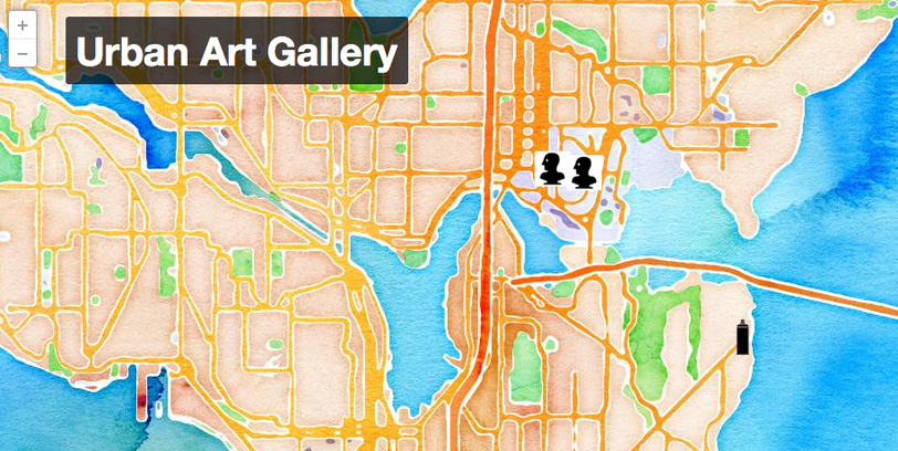 Image of Urban Art Gallery map using Stamen Watercolor base