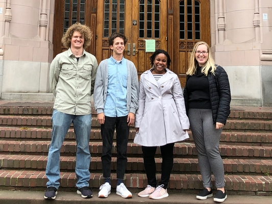 Introducing the 2019 Graduate Student Cohort, from left to right: Ken Wolkin, Tyler McCrea, Danielle Brown, Ellie Cleasby