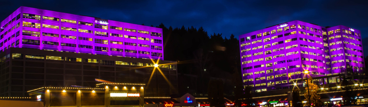 Image of T-Mobile Headquarters in Bellevue, WA, with Purple Structural Lighting by R90 Lighting