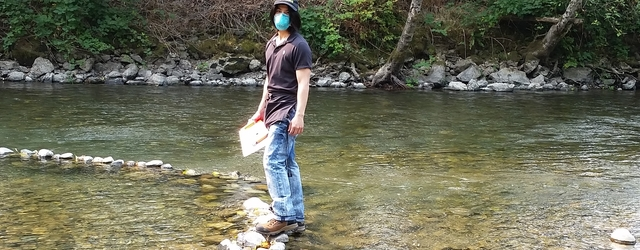 Geography student Kevin Ho at Tolt-River Natural Area