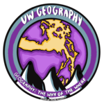 UW Geography Image designed by Megan Plunkett features a purple and gold map of the Salish Sea with black and white outline of Olympic Mountains in the foreground