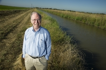 Dr. Jay Lund smiles in a field on a sunny day.