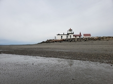 View of the Puget Sound and Discovery Park Lighthouse in Seattle