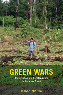 Green Wars book cover. A man raising a stick in front of a forest.