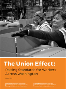 "Front cover of report ""The Union Effect: Raising Standards for Workers Across Washington,"" featuring three people packing boxes in a warehouse."