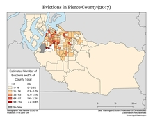 Map of Evictions in Pierce County from 2017