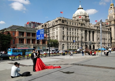 People in a square in China