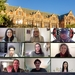 Grid photo of 9 new geography graduate students set against an image of Smith Hall