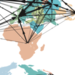 Global map with lines running across it showing interconnections.