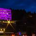 T-Mobile Headquarters in Bellevue, WA, covered in purple light.